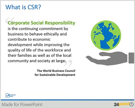 Illustrate Corporate Social Responsibility Presentation with Editable PPT Graphics - 24point0 Editable PowerPoint Slides & Templates