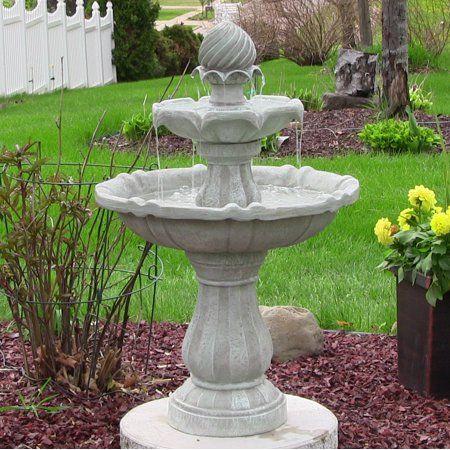 Sunnydaze 2 Tier Solar With Battery Outdoor Water Fountain 35 Black Finish Walmart Com Water Fountains Outdoor Fountains Outdoor Solar Water Fountain