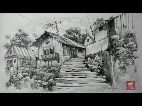 How To Draw Scenery Landscape By Pencil Sketch Step By Step Youtube Landscape Pencil Drawings Drawing Scenery Landscape Drawings