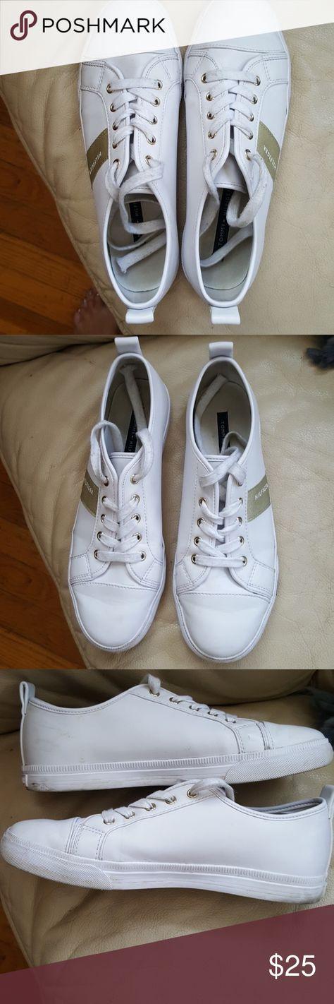 6d044a853d7b Tommy Hilfiger Faux Leather Sneaker Tennis Shoes White w gold Hilfiger logo  fabric stripe.