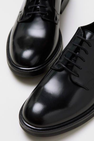 black leather brogues mens