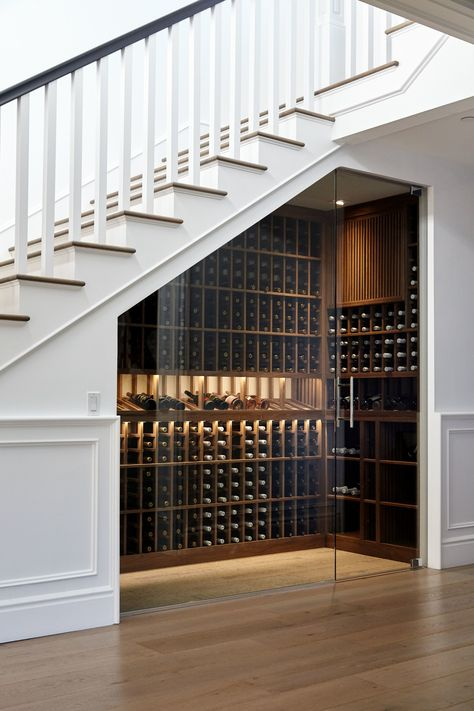 """Inside Scott Disick's Hamptons-Inspired Hidden Hills Home The L. abode of the """"Flip It Like Disick"""" reality TV star melds a traditional exterior with minimalist, midcentury interiors Design Living Room, Design Room, House Design, Home Stairs Design, Dream Home Design, Architectural Digest, Under Stairs Wine Cellar, Wine Cellar Basement, Kitchen Under Stairs"""