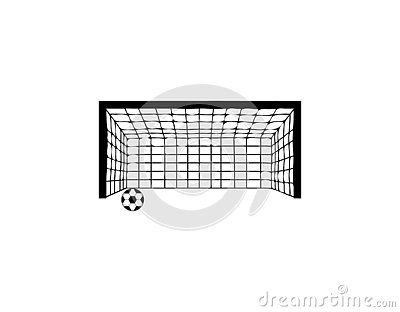 Vector Illustration Of A Black Goal With Soccer Ball Icon Isolated On A White Background White Background Home Decor Decals Decor