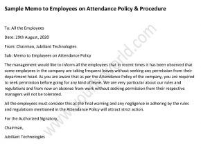 Sample Memo To Employees On Attendance Policy And Procedure Attendance Policy Memo Policies