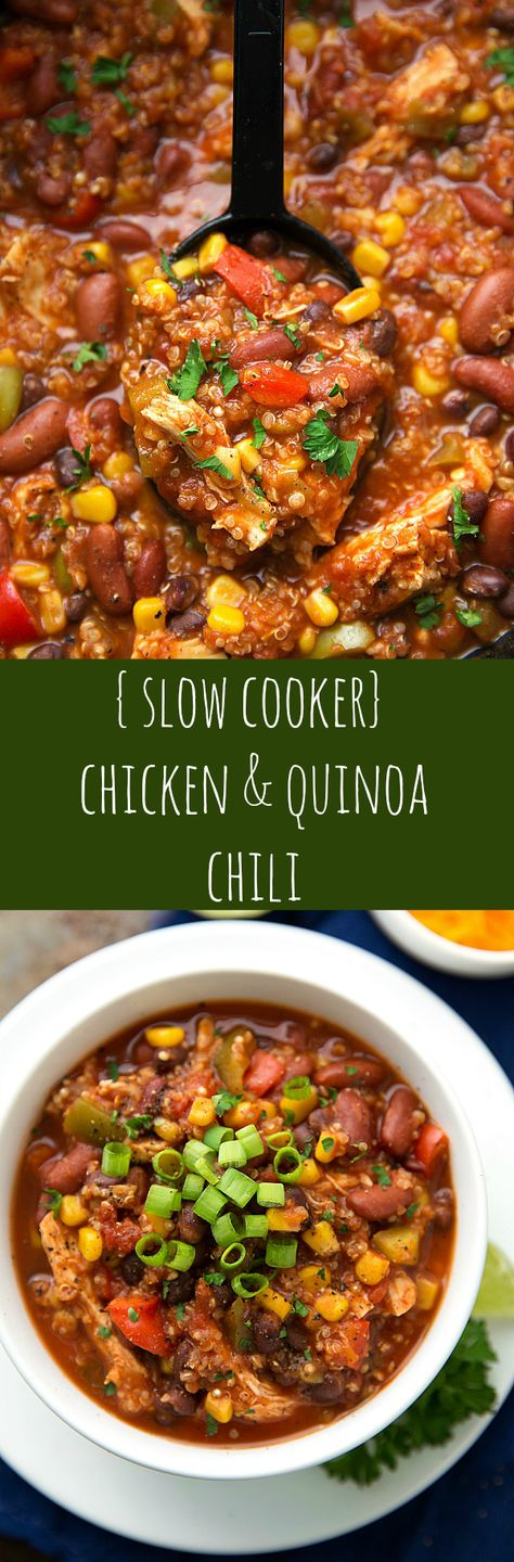 Slow-cooker Chicken and Quinoa Chili. If you can use homemade chicken stock to reduce the salt or try half a reduced salt stock cube like kallo. And to avoid toxins fro. The meat choose organic,free range chicken.