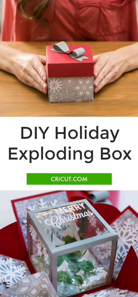DIY Holiday Exploding Box The holidays are coming up quick! What are you going to make for your friends? As a professional crafter, people are always expecting something totally unique. This year I decided to play with the … Diy Arts And Crafts, Diy Christmas Gifts, Holiday Crafts, Christmas Crafts, Paper Crafts, Christmas Boxes, Handmade Christmas, Diy Gift Box, Diy Box