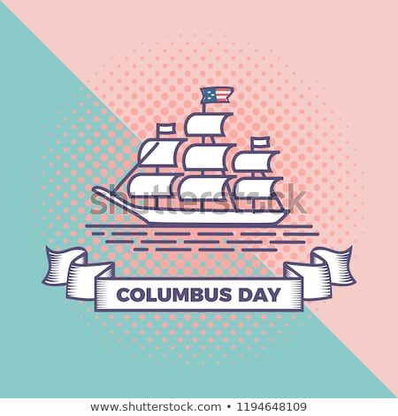 Happy Columbus Day Vector With Punchy Pastel Background Pop Art Vintage Style Background Greeting Celebration Design For A Happy Columbus Day Columbus Day Day