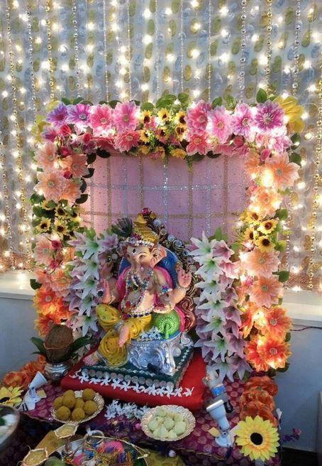 Pooja Decor In 2020 Flower Decoration For Ganpati Decoration