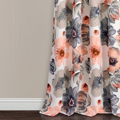Set Of 2 95 X52 Leah Grommet Top Room Darkening Curtain Panels Coral Gray Lush Decor In 2020 Lush Decor Floral Curtains Curtains