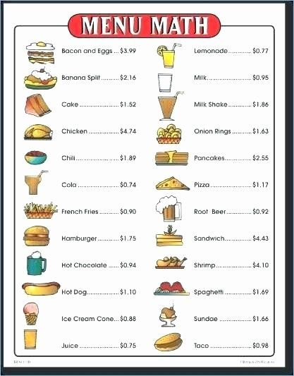Menu Math Worksheets Best Menu Math Worksheets Free S menu math worksheets