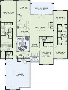 With An Atrium Interesting But Split Floorplan Atrium House Floor Plans Monster House Plans