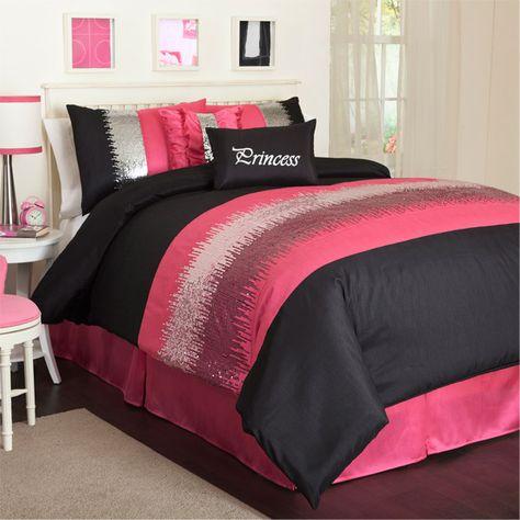 Twin 5 Piece Night Sky Pink And Black Comforter Set Comforter