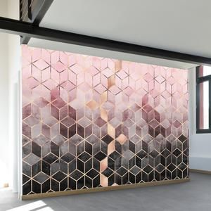 Pink Grey Gradient Cubes   Wall Mural   WallsNeedLove
