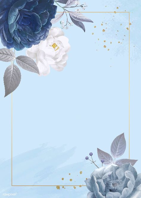 Blue roses themed card template vector   premium image by rawpixel.com / Minty