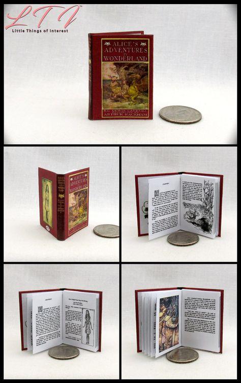 1:6 SCALE MINIATURE BOOK ALICE'S ADVENTURES UNDER GROUND LEWIS CARROLL