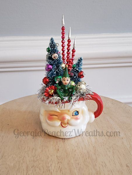 Vintage Christmas Decor Idea: Image of Vintage Holt Howard Santa Mug. Adorable! #Christmas #vintagechristmas #christmasdecor #holidaydecor #holiday #santa