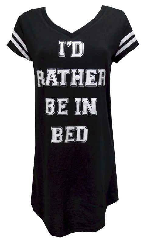 I'd Rather Be In Bed Varsity Night Shirt  Both soft and simply stated, these night shirts for women have v-neck styling and state 'I'd Rather Be In Bed'. Stripes on the sleeves give an athletic, varisty feel to this classic cut night shirt. Machine washable and easy care. Junior cut. $19