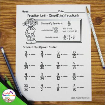 Fraction Unit Simplifying Fractions Worksheet By Teacher Gameroom Teachers Pay T Simplifying Fractions Fractions Worksheets Simplifying Fractions Worksheet Simplifying fractions worksheets for
