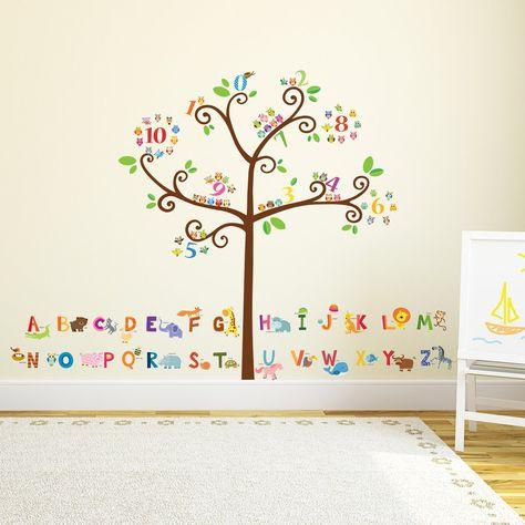 Combo Owl Alphabet Flowers Tree Wall Stickers Children Nursery Decals Wallpaper