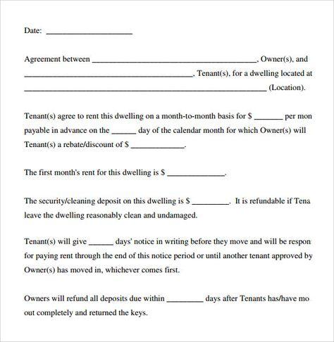 Basic Rental Agreement Word Document template Rental agreement