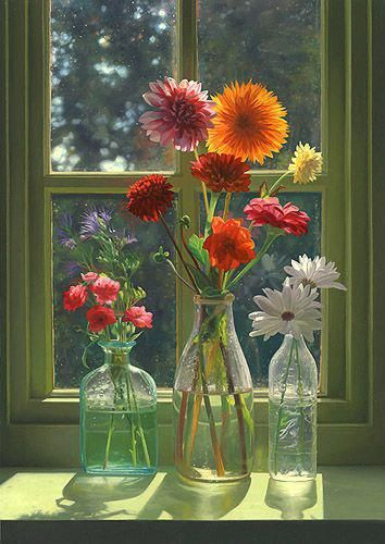 Flowers Arranged In Bottles Home Flowers Window Decorate Vase Bottles Arrangement Beautifulflowers Flower Vases Flower Art Flower Painting