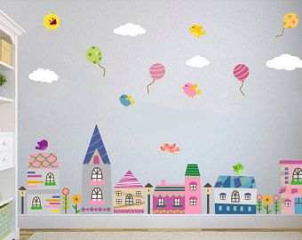 City Wall Decal Town Buildings Balloon Nursery Wall Decal Kids Wall Decal Houses Decal Baby Wall D Baby