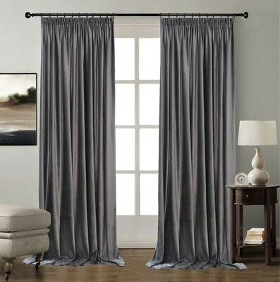 Grey Velvet Thermal Blackout Curtain Panel S Pencil Pleat Extra Long Extra Wide Ebay Curtains Grey Velvet Curtains Grey Curtains