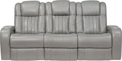 Peachy Servillo Platinum Leather Dual Power Reclining Sofa Power Ocoug Best Dining Table And Chair Ideas Images Ocougorg