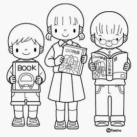 Dibujo Para Colorear Niño Leyendo Un Libro Dibujo Para