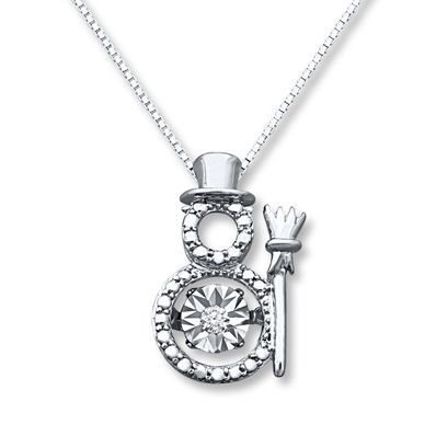 AMDXD Womens Pendant Necklaces Silver Christmas Pendant Zirconia Hollow Star Snowman Silver
