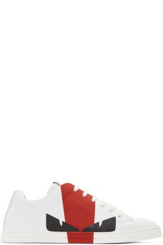 3e6ac9f5 Fendi - White & Red Leather 'Bag Bugs' Sneakers | summer fashion for ...