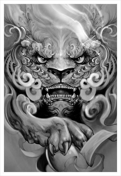 Foo Dog Art Print By Elvintattoo In 2020 With Images Foo Dog Tattoo Foo Dog Tattoo Design Japanese Tattoo Art