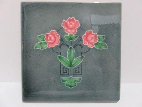 Antique Ceramic Tile Floral Art Nouveau Vintage England Edwardian Old Floral
