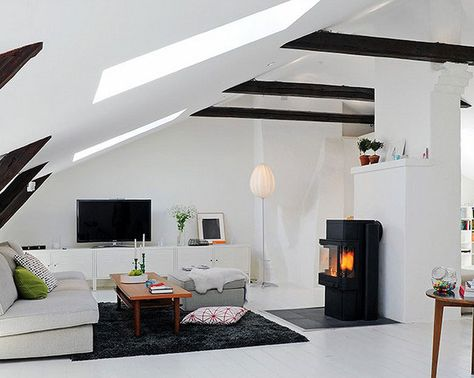 attic with beam accents