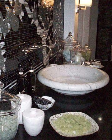 Kitchen And Bath Show Kitchen Bath Black White Tiles Stone Sink