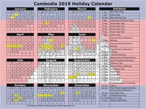 Cambodia 2019 2020 Holiday Calendar National Day Calendar