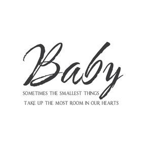 "Our""Baby, Sometimes the Smallest Things"" wall quote wall decal is either talking about your baby or addressing your baby, whichever you prefer. Perfect for a nursery or living room, or even the bathroom, if you need to remind your babe to put the seat down. 36""x22.5"" (91x57cm)"