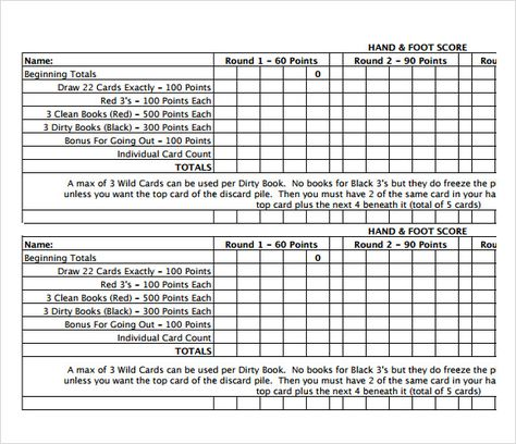 Hand and Foot Score Sheet Template Hands Card Games, Dice games