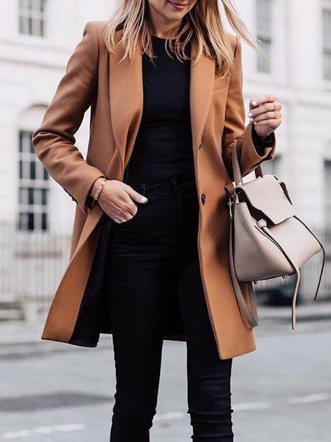 Single-Breasted Regular Button Winter Lapel Overcoat