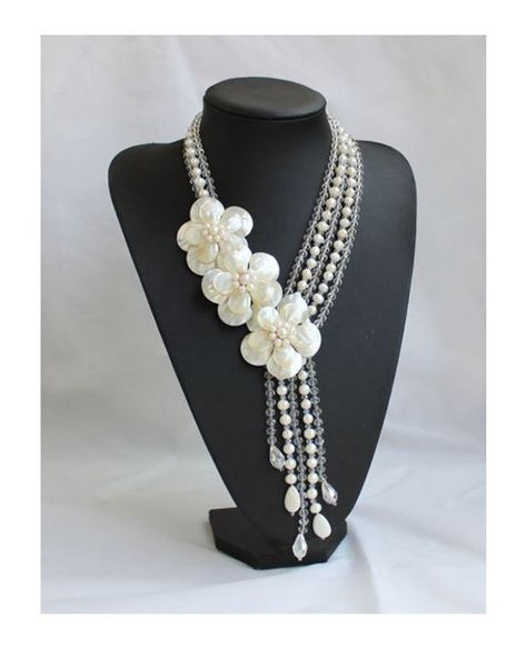 Natural Freshwater Pearl shell crystal Flower Necklace sister gift, friend gift, mothers gift, weddi