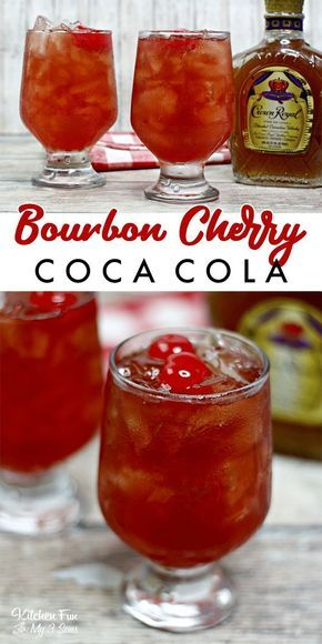 Bourbon Cherry Coke is a quick and delicious cocktail you can make with just four ingredients. About Bourbon Cherry Coke is a quick and delicious cocktail you can make with just fou. Liquor Drinks, Non Alcoholic Drinks, Cocktail Drinks, Cocktail Recipes, Bourbon Drinks, Beverages, Bourbon Recipes, Cherry Cocktails, Bourbon Glasses