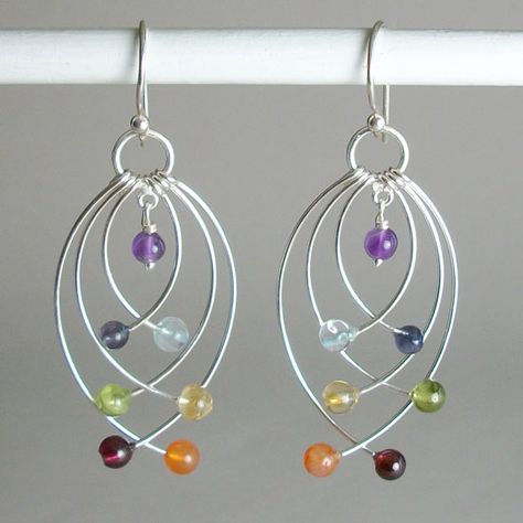 Chakra Gemstone & Sterling Silver Jewelry Balances Body, Mind & Spirit is part of Gemstone jewelry Earrings - Balance Body, Mind and Spirit by wearing Sterling Silver Gemstone Chakra Jewelry Real gemstones and Unique designs for all occasions! Wire Earrings, Gemstone Earrings, Silver Earrings, Diamond Earrings, Amber Earrings, Cluster Earrings, Diamond Jewelry, Statement Earrings, Opal Necklace