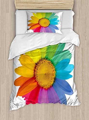 Flower Luxury 4 Piece Bedding Set Rainbow Colored Sunflower Or