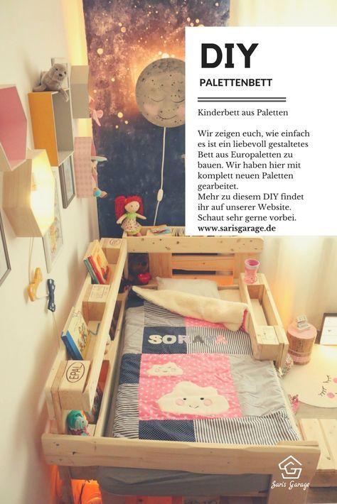 How To Kinderbett Selber Bauen Bett Aus Europaletten Palettenbett Deko Fur Kinderzimmer Deko Selber Machen Diy Do It Yoursel Kinderbett Kinder Bett Bett