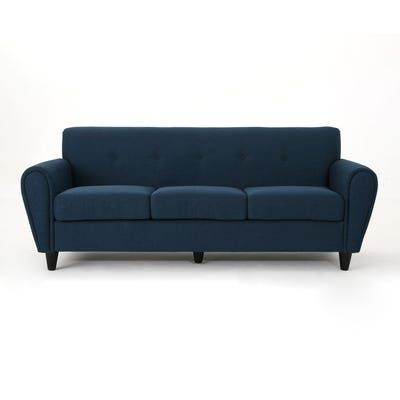 Buttoned Traditional 3 Seater Fabric Sofa Blue Fabric Sofa Sofa Blue Couch Living Room