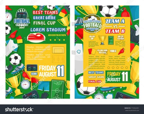 Football Sport Tournament Final Match Banner Template Soccer Game Championship Poster With Frame Of Ball W Sports Tournaments Football Referee Soccer Referee
