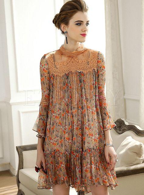 Dresses | Shift Dresses | Floral Print Splicing Silk Shift Dress