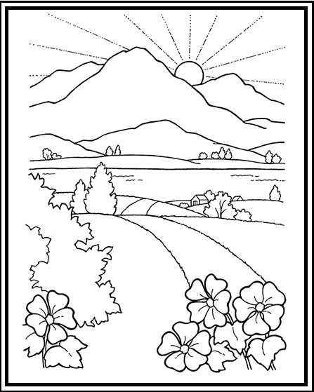 Wonderful Mountain Scenery Coloring Pages For Children Coloring