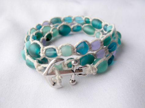 Wrap Bracelet Hemp Bracelet Sea Glass by BeBeautifulDesigns