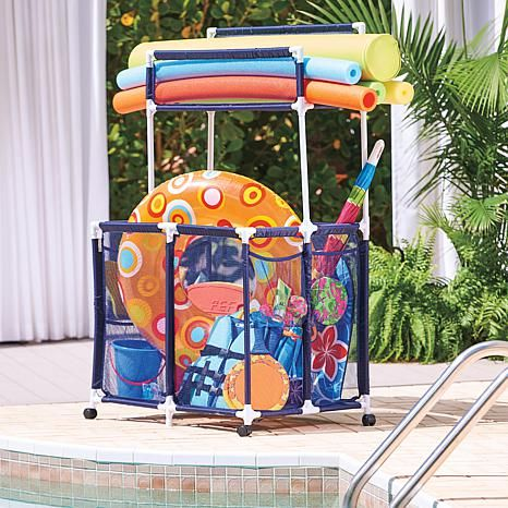 Improvements Pool Toy Storage Bin With Noodle Holder Pool Toy Storage Pool Toys Pool Storage